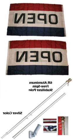 ALBATROS 3 ft x 5 ft Open 2ply Flag with 6ft Spinning Stabil