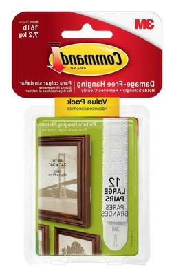 3M Command Large Picture Hanging Strips 17206-12ES 12 Pairs