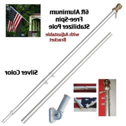 ALBATROS 6ft Aluminum Spinning Stabilizer Flag Pole Silver B