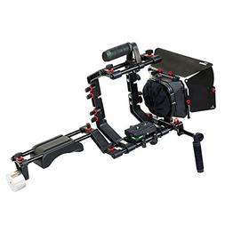 FILMCITY DSLR Camera Shoulder Support Rig Kit with Cage & Ma