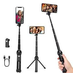 Durable Full Aluminum Alloy Selfie Stick Tripod, 46 Inch Uni