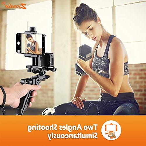 Zeadio Ergonomic Stabilizer Tripod Stick Handle All and Samsung Phones, Angles Shooting Simultaneously