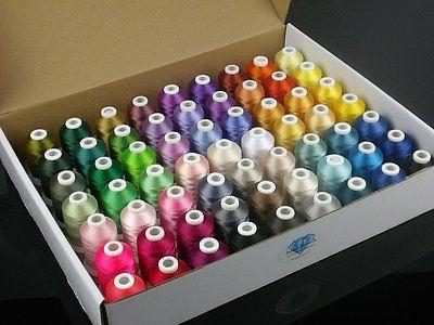 Simthread 63 Brother Colors Polyester Embroidery Machine Thread Kit 40 Weight...