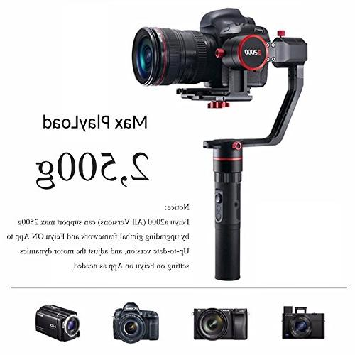 Feiyu a2000 Grip Kit Gimbal for Series, A9 Series GH4/GH5, Payload: 250-2500g, Carrying Case.