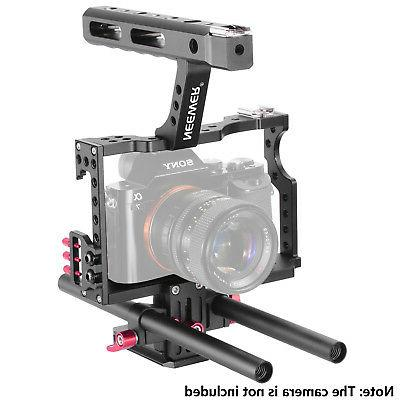 Neewer Film Movie Making Camera Cage Kit with for A7 A7SII A7RII A7II Cameras,Mount Follow Box,Microphone,LED,Monitor,Flash