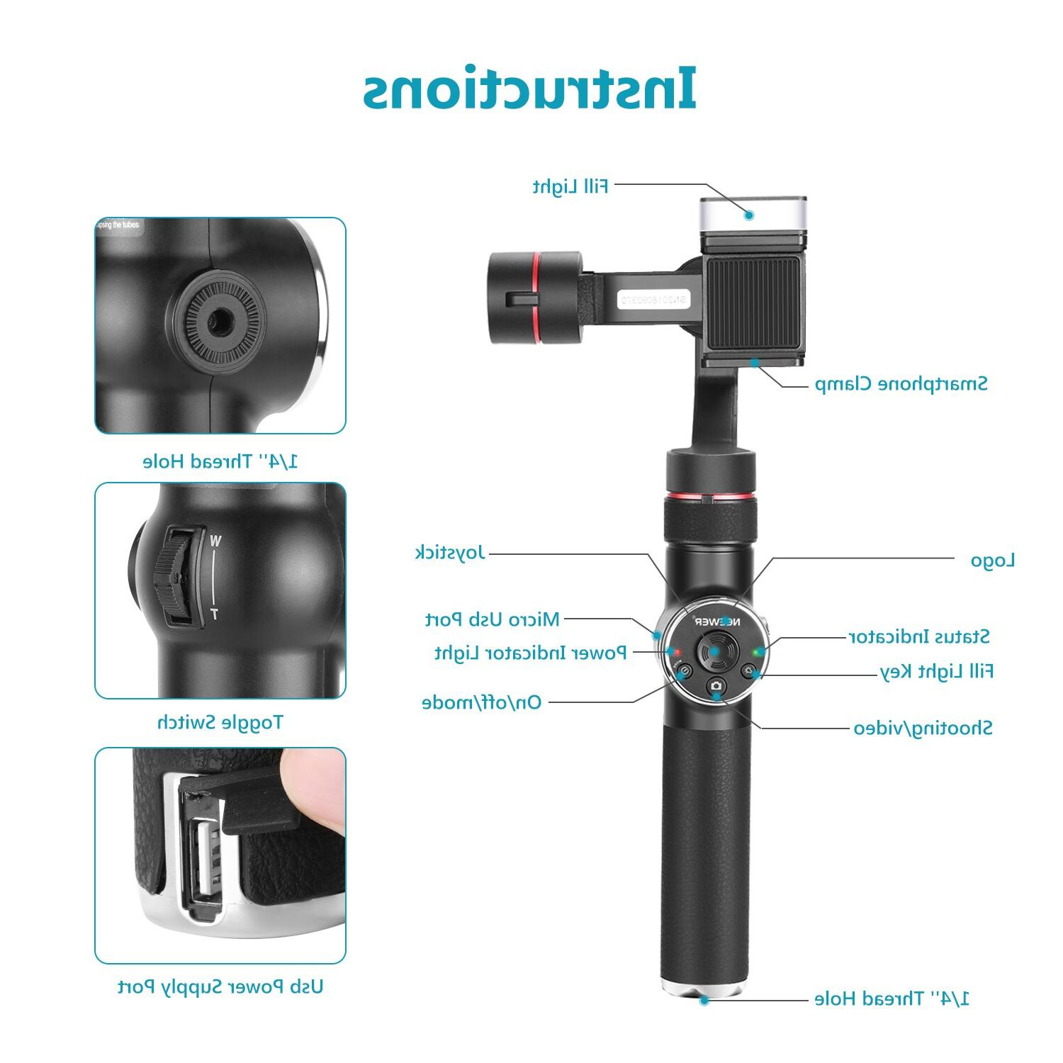 <font><b>Neewer</b></font> 3-Axis Handheld <font><b>Stabilizer</b></font> with Focus & LED Light and Extension Tube for Max Xr X
