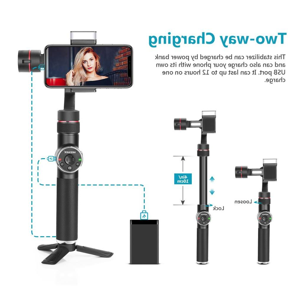 <font><b>Neewer</b></font> 3-Axis Handheld <font><b>Stabilizer</b></font> Pull & Zoom Fill-in Light Tube for Xs Max