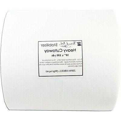 "HEAVY WEIGHT CUTAWAY EMBROIDERY MACHINE STABILIZER BACKING 10/""x100YD ROLL"