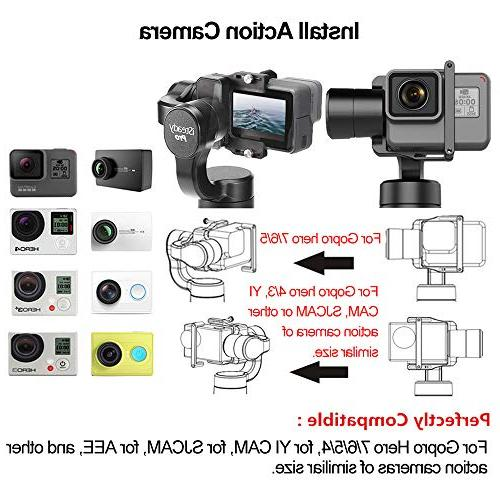 Hohem iSteady 3-Axis Handheld Gimbal Gopro 2018/6/5/4/3+/3, Cam 4K, Sports Action 12h APP Controls for Panoramas