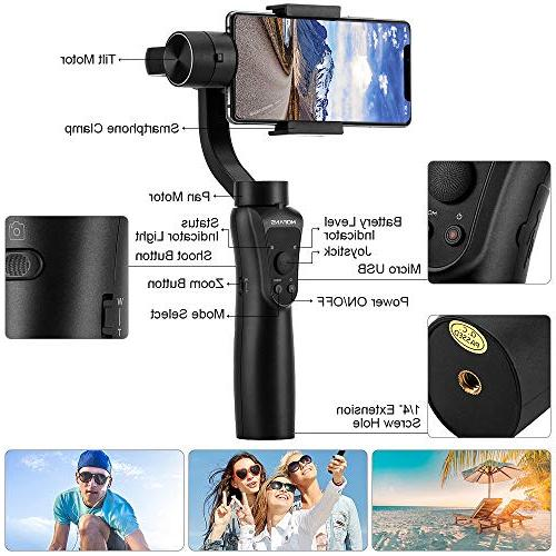 MOFANS S5 Gimbal Smartphone Stabilizer w/Focus Pull&Zoom Compatible iPhone Under GoPro Support APP