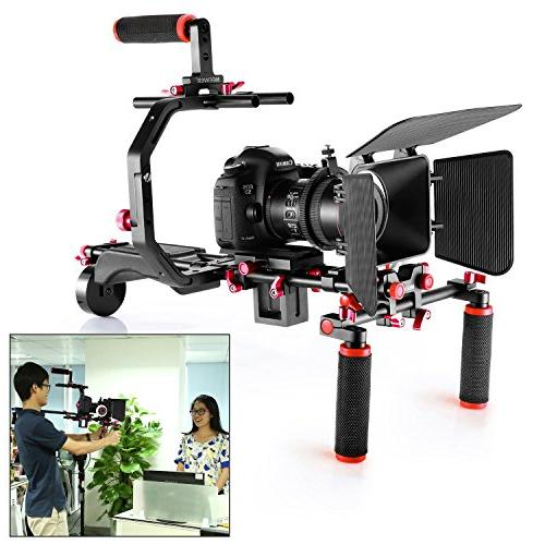 Neewer Video Making System for Canon Sony and Other DSLR Camcorders, includes: Grip,15mm Rod,Matte Box,Follow Rig