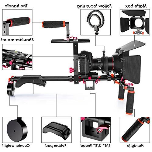 Neewer Film Movie Making System Kit for Canon Sony Other Cameras Camcorders, includes: Grip,15mm Rod,Matte Box,Follow Focus,Shoulder Rig