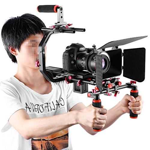 Neewer Making Canon Nikon and Other Camcorders, includes: Grip,15mm Rod,Matte Box,Follow Focus,Shoulder Rig