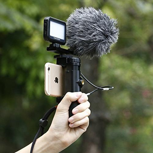 Mouriv Smartphone Video Video Phone Stabilizer Hand With Mini Cardioid Microphone,Video LED Light, Aluminum Cold Shoe