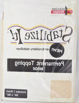 Stabalize It Embroidery Stabalizer. Permanent Topping Beige