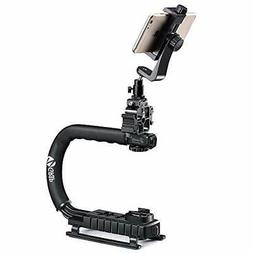 Zeadio Triple Hot-Shoe Mounts Handheld Stabilizer +