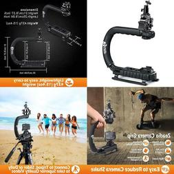 triple hot shoe mounts handheld stabilizer handle