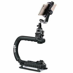 Zeadio Triple Hot-Shoe Mounts Handheld Stabilizer + Smartpho