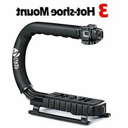 Zeadio Triple Hot-Shoe Mounts Handheld Stabilizer, Video Sta